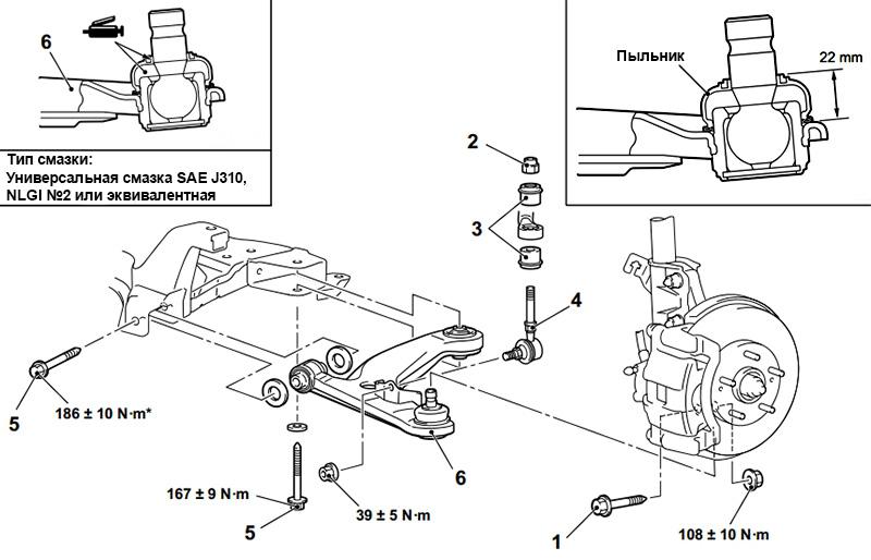 Схема передней подвески в районе нижнего рычага Mitsubishi Outlander I 2003 - 2008