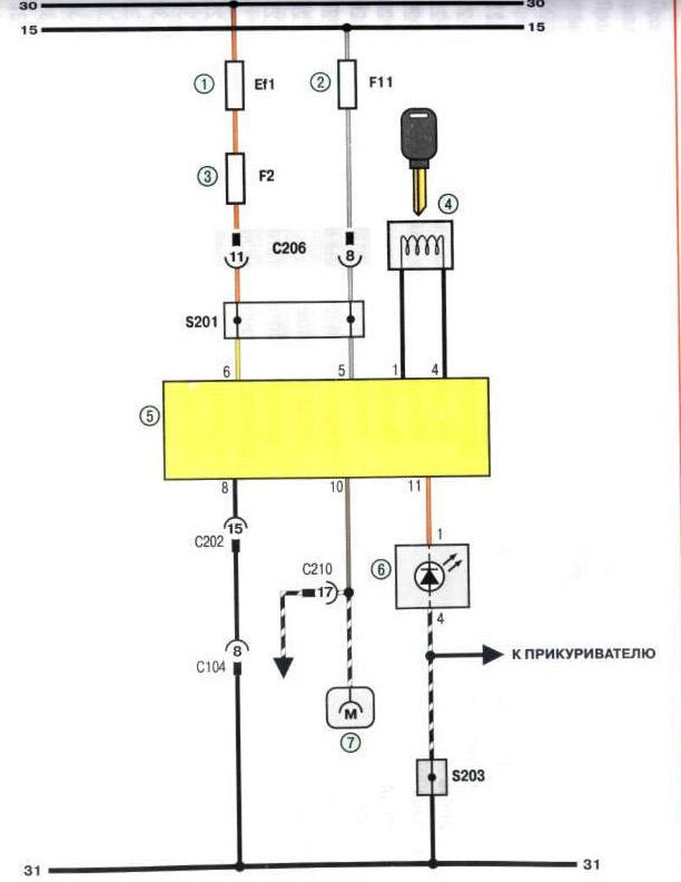 Ланос схема подключения иммобилайзера