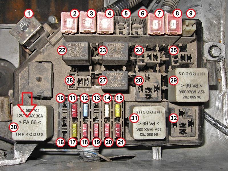 Схема реле и предохранителей chevrolet lanos