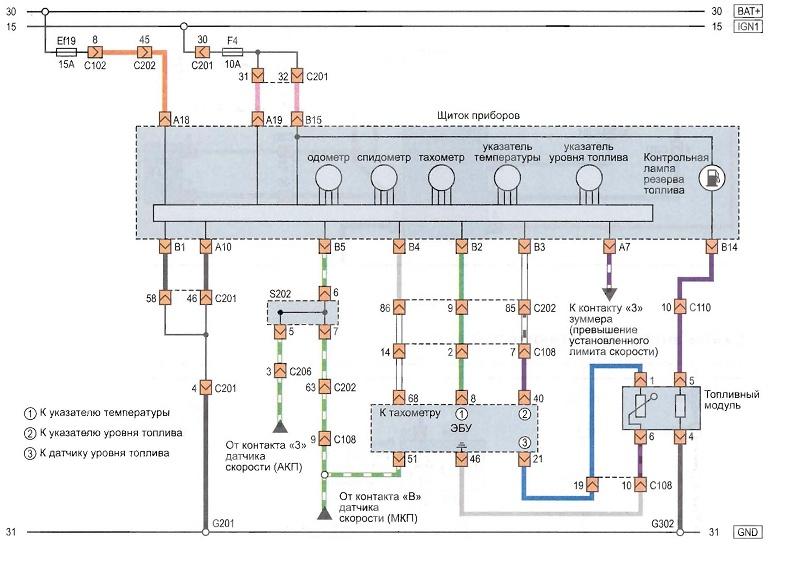 схема электропроводки тахометра chevrolet lacetti