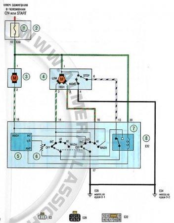 ниссан альмера классик электросхема омывателя стекол