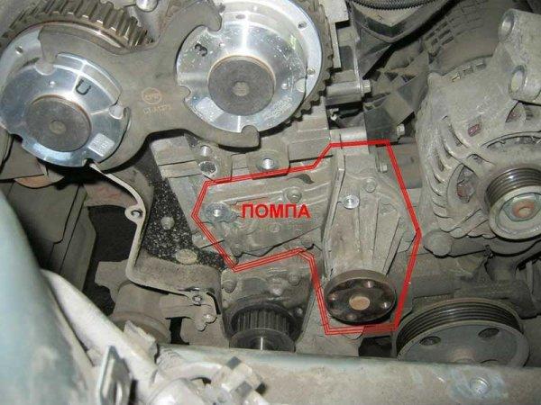 Снятие насоса охлаждающей жидкости в автомобиле Ford Focus 2
