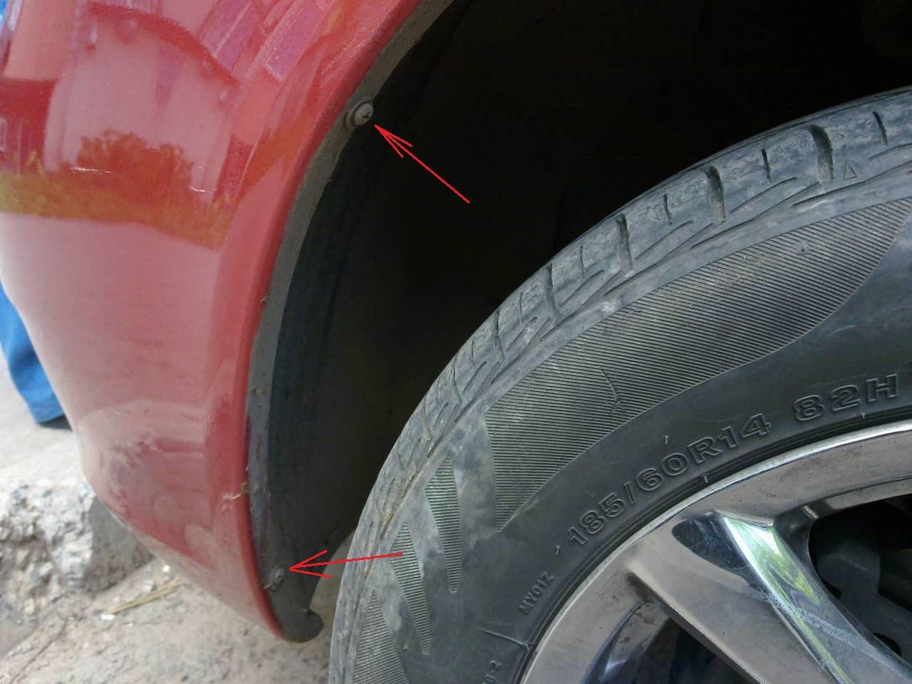 Саморезы крепления переднего подкрылка к боковой стенке бампера Лада Гранта (ВАЗ 2190)