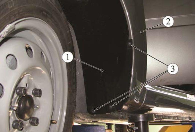 Детали крепления задней части переднего подкрылка Лада Гранта (ВАЗ 2190)