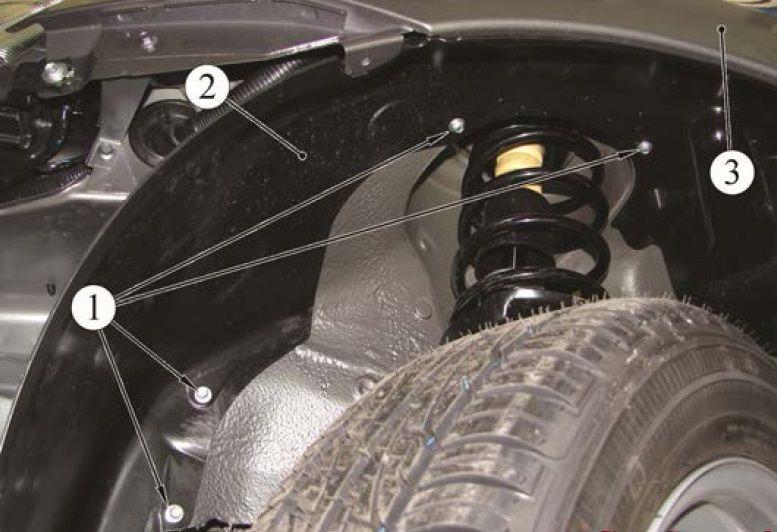 Детали крепления внутренней части переднего подкрылка Лада Гранта (ВАЗ 2190)