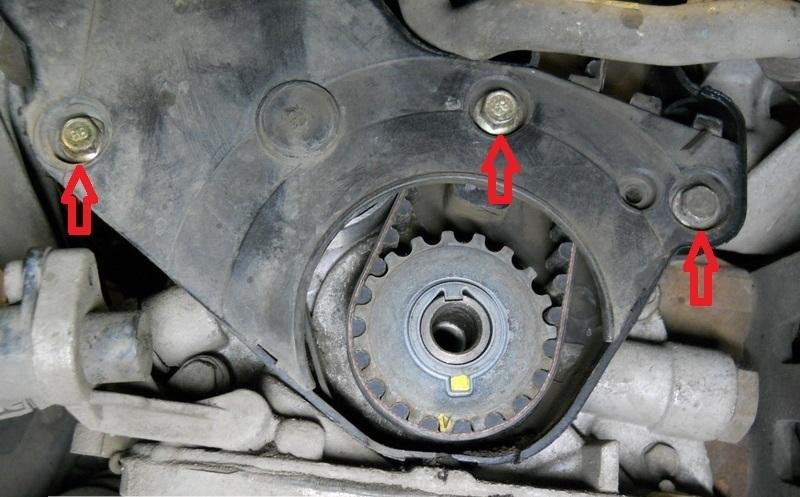 Размещение болтов крепления нижней передней крышки привода ГРМ двигателя A15SMS Daewoo Nexia N150