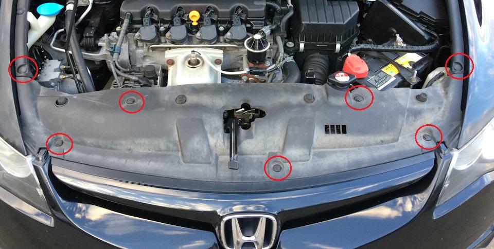 Замена замка капота Хонда Цивик 2005 - 2011