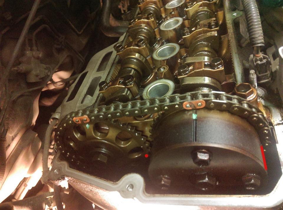 Совмещение меток цепи привода ГРМ Toyota Camry