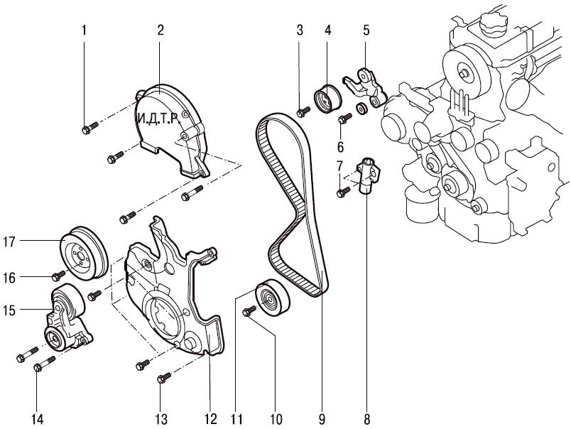 Схема ремней чери амулет