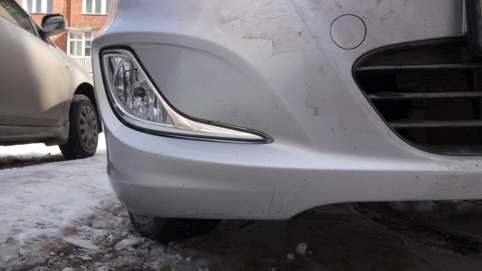 Конечный результат в спайке бампера на автомобиле Hyundai Solaris 2010-2016